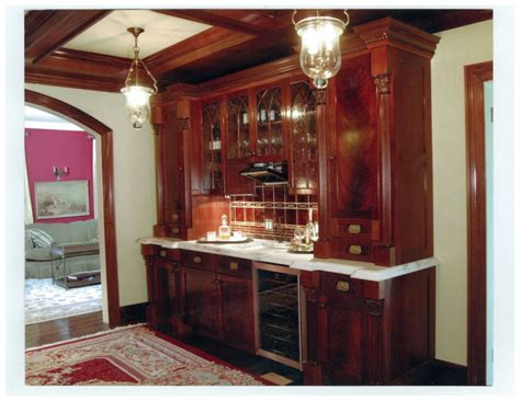 polished figured mahogany wet bar  granite top