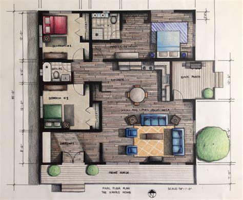 rendered floor plan hand rendered  prismacolor