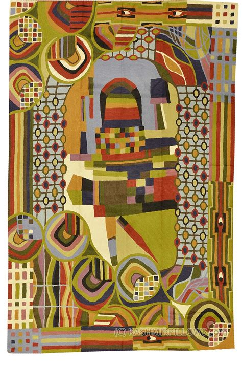 modern tapestry wall hangings hundertwasser rugs abstract wall hangings embroidered accent rug modern tapestry green blue