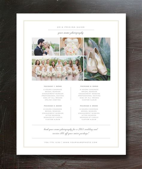 photography price list template flyer templates