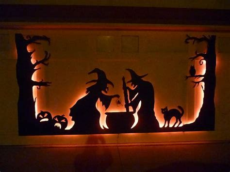 halloween garage door silhouette pictures