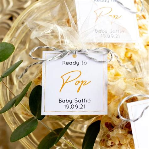 mustard yellow ready  pop baby shower favor tags penny