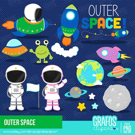 outer space clipart outer space digital clipart set space clipart