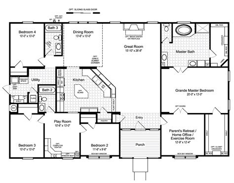 house floor plan design the hacienda ii vr41664a manufactured home floor plan or