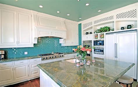 kitchen backsplashes images a turquoise kitchen in malibu interiors by color