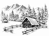 Cabin Winter Drawing Mountains Illustration Landscape Sketch Drawings Pencil Mountain Line Forest Vector Snowy Snow Clipart Tree Danussa Scene Nature sketch template