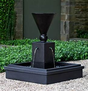 Manhattan cast stone garden fountain from campania for Modern outdoor fountains