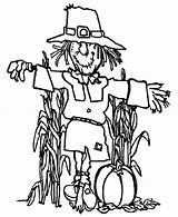 Coloring Scarecrow Pumpkin Harvests Coloringsun Fields Sun Harvest sketch template