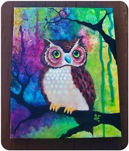 Items similar to Colorful, Paint Splatter/Drip, Cute Owl ...