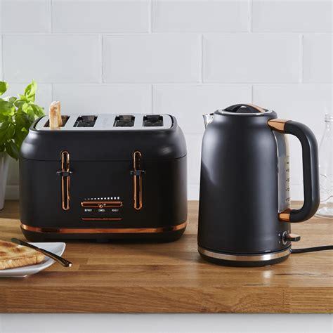 dunelm  slice matt black copper toaster   navy  copper copper kitchen black
