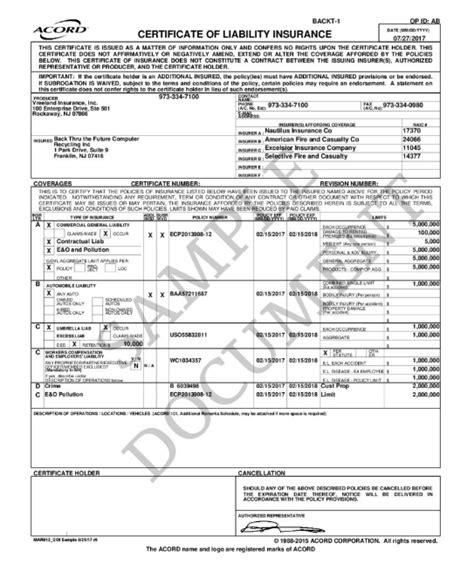 sample certificate  insurance     future