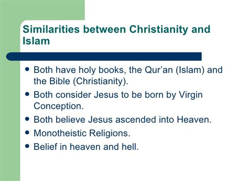 Christianity Islam Comparison Essay by Comparison Between Islam And Christianity Essay Document