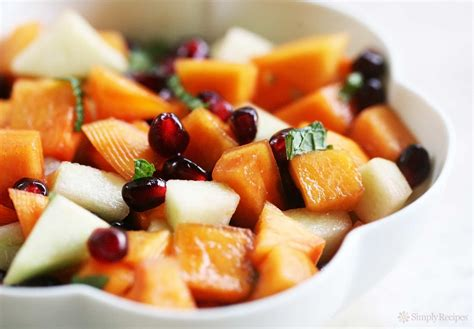 Japanese Pumpkin Salad Recipe by Persimmon Pomegranate Fruit Salad Recipe Simplyrecipes Com
