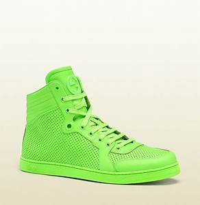Gucci Neon Green leather high top sneaker