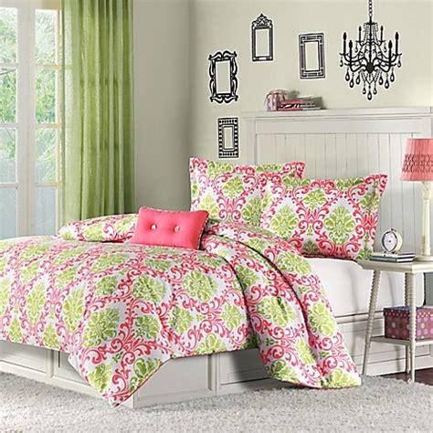 mizone katelyn reversible comforter set in coral bed