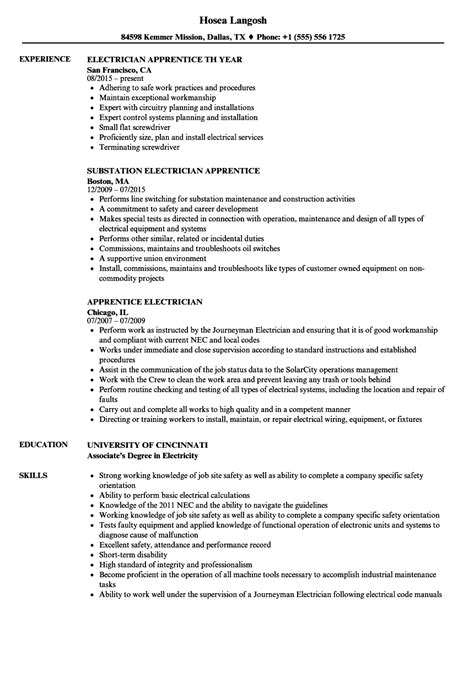Electrician Apprentice Resume Sle by Apprentice Electrician Resume Sle
