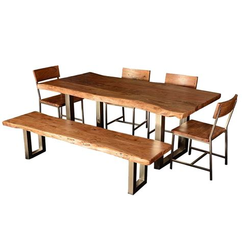 Modern Rustic Live Edge Dining Table Chair Set With Live