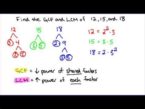 Gcf And Lcm Of 3 Numbers Youtube