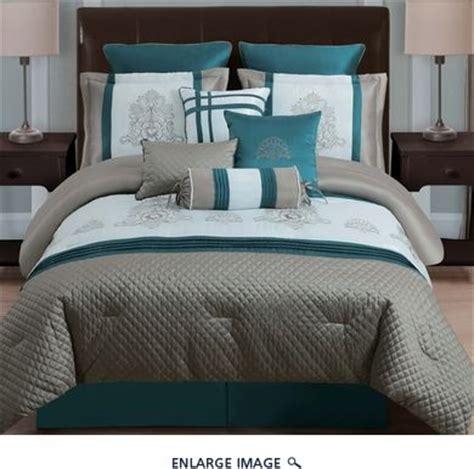 teal comforter set queen  piece queen avalon taupe