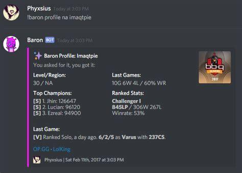 baron  lol discord bot leagueoflegends
