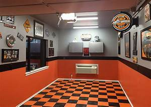 Harley-Davidson garage flooring