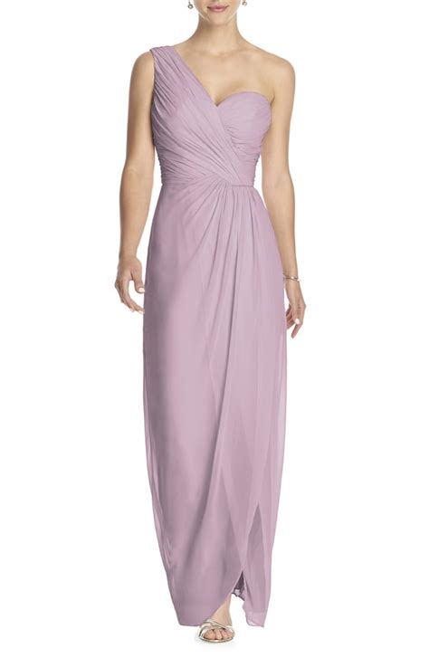 draped one shoulder dress dessy collection one shoulder draped chiffon gown nordstrom