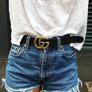 Belt tumblr gucci gucci belt logo belt t-shirt white t-shirt shorts denim shorts blue ...
