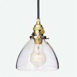 Handmade hand blown quot clear glass pendant light brass by