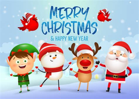 Cartoon hand drawn christmas tree merry christmas font svg. Merry christmas and happy new year banner design Vector ...
