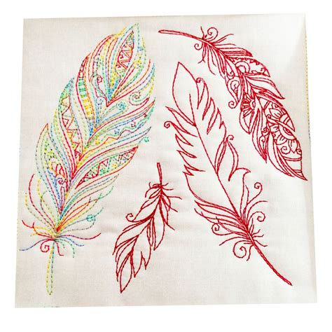 embroidery designs for cushion with feather redwork patterns machine embroidery