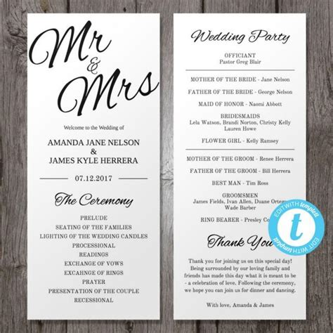 Wedding Program Template Printable Wedding Program Template Mr Mrs Instant