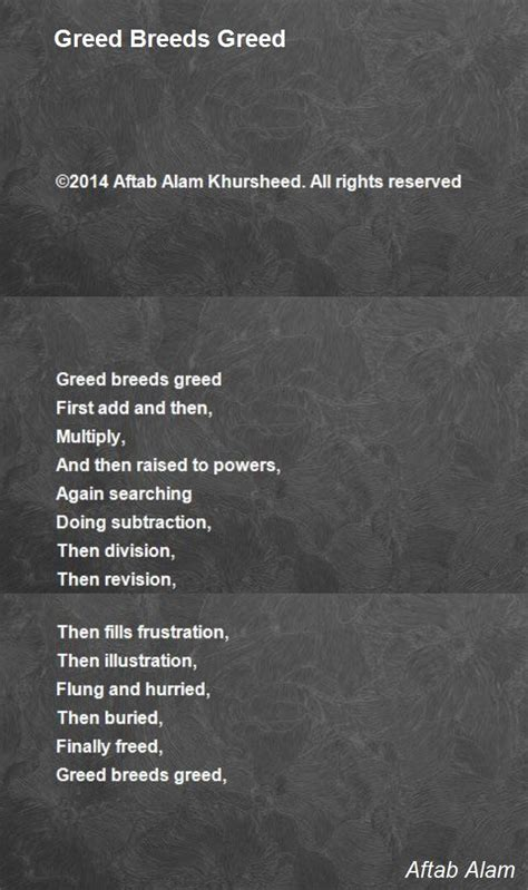 greed breeds greed poem  aftab alam poem hunter