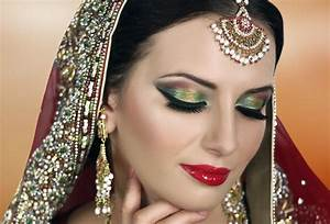 Traditional Indian Bridal Makeup Tutorial - Red Gold Green ...