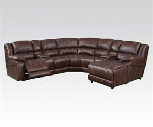 Casual brown 7 piece reclining sectional sofa w storage for Sectional sofa with a recliner