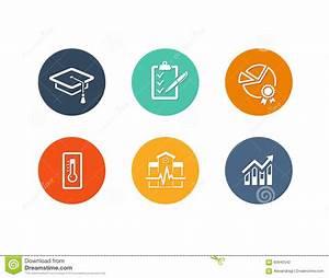 Educational Academic Icons Flat Design Stock Vector ...