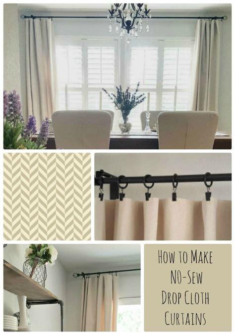sew drop cloth curtains diy project