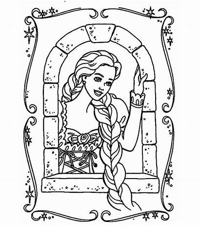 Rapunzel Coloring Pages Window Tangled Mirror Princess