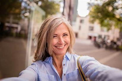 Mature Woman Selfie Smiling Law Mother Taking