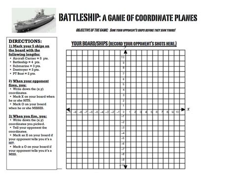Battleship Coordinate Graphingpdf  Middle School Math  Pinterest Battleship