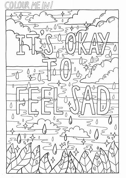 Coloring Sad Feelings Quotes Adults Adult Quote