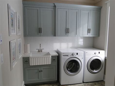 Corian Apron Sink by Under Cabinet Washer Dryer Transitional Laundry Room