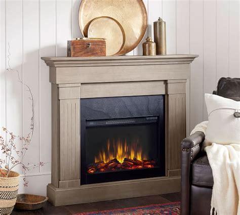 livingston electric fireplace gray wash pottery barn