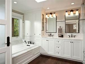 oil rubbed bronze cabinet pulls bathroom traditional with With kitchen colors with white cabinets with metal wall art with mirrors
