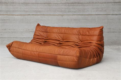 canapé cuir cognac vintage togo cognac leather three seater sofa by michel