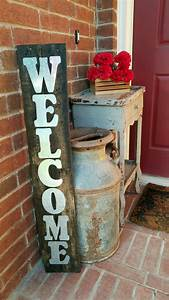 Front, Porch, Decor, Large, Old, Milk, Jug, Distressed, Table, Easy, Diy, Pallet, Welcome, Sign, Farm