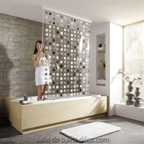 rideau de baignoire store mosaique gris salledebainsdeco