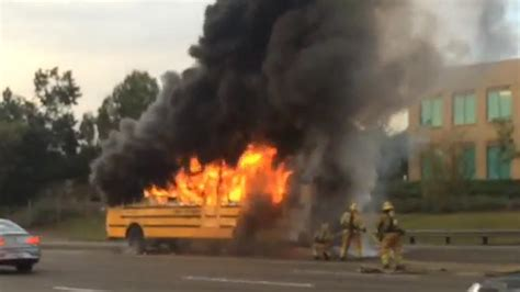 school bus carrying students    flames  socal