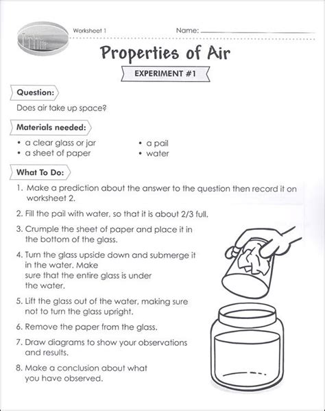 properties of air worksheet class science