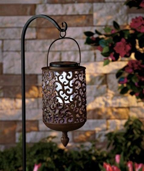 solar lights hanging lantern scrolled walkway lawn patio