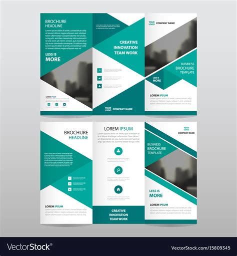Design Folding Brochures Print Template Flyer Stock Vector Green Triangle Business Trifold Leaflet Brochure Vector Image